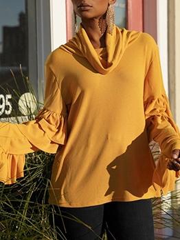 Heaps Collar Ruffled Detail Yellow T Shirt