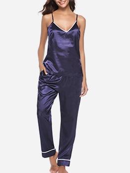 Spaghetti Strap V Neck Solid Silk Pajamas Sets