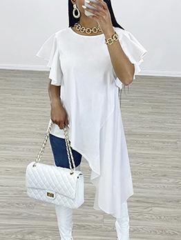 Asymmetric Hem Short Sleeve Casual Maxi Dresses