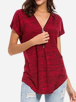 Front Zipper V Neck T Shirts For Women