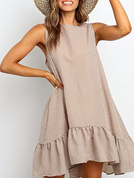 Crew Neck Ruffled Trim Plaid Sleeveless Dress
