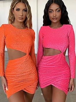 Sexy Pure Color Cutout Draped Bodycon Dress
