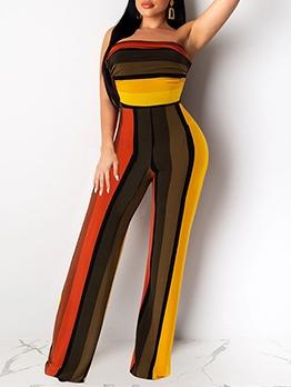 Multicolored Stripes Straight Leg Strapless Jumpsuit