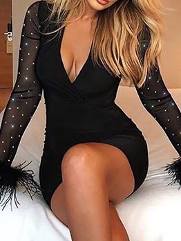 Deep v Fur Rhinestone Patchwork Bodycon Dress