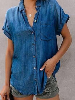 Single Breasted Denim Short Sleeve Shirts