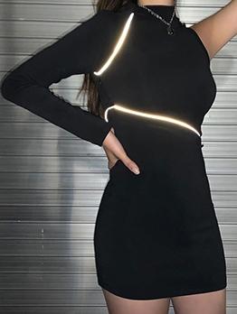 One Shoulder Drawstring Reflective Long Sleeve Dress