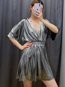 Bat Sleeve Smart Waist Silvery Short Sleeve Dress