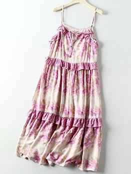 V Neck Print Spaghetti Straps Maxi Dress For Vacation