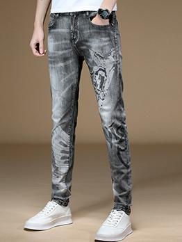 Chic Print Elastic Mens Skinny Jeans