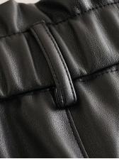 Straight Pu Casual Black Pants
