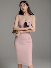 Sweetheart Neckline Panel Slit Sleeveless Dress