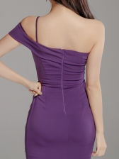 Inclined Shoulder Cut Out Bodycon Dress