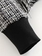 Knit Plaid Tassel Hem Sweatshirts For Women