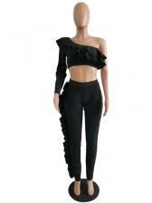 Asymmetric Ruffled Stringy Selvedge Two Piece Pants Set
