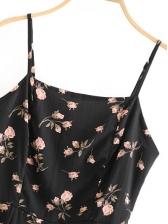 Vintage Floral Slit Sleeveless Mini Dress