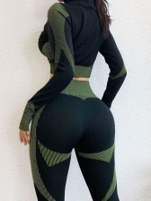 Contrast Color Long Sleeve Zipper Up Yoga Outfit