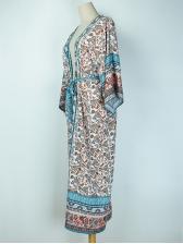 Bohemian Tie-Wrap Flower Printed Long Cardigan