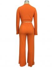 Pure Color Mock Neck Crop Top And Pants Set