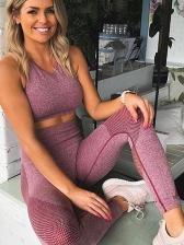 Gauze Patchwork Sleeveless High Waist Yoga Outfit