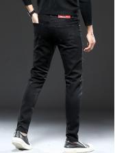 Logo Letter Rhinestone Patch Black Jeans