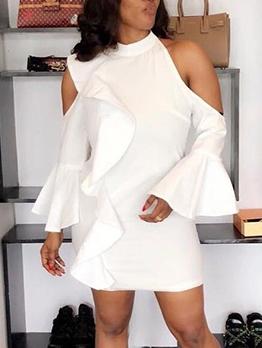 Cold Shoulder Ruffled White Long Sleeve Dress