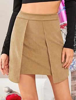 Solid Corduroy Irregular Skirts For Women