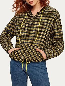 Casual Long Sleeve Plaid Pullover Hoodie