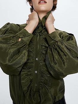 Fashion Green Silk Ruffle Blouse