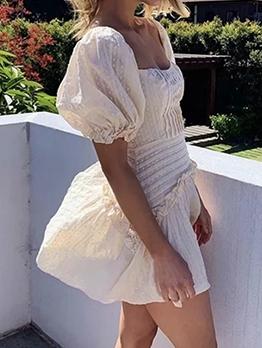 Sweet Stringy Selvedge White Short Sleeve Dress