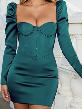 Vintage Square Neck Long Sleeve Bodycon Mini Dress