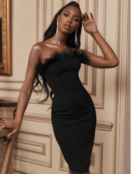 Feather Decor Black Strapless Bodycon Dress
