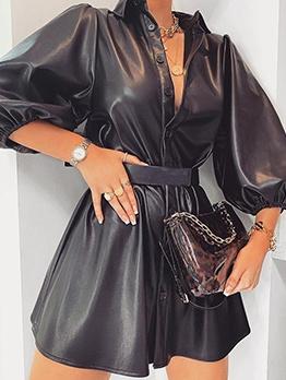 Lantern Sleeve Black Leather A-Line Dress For Women