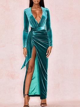 Deep V Neck High Split Hem Velvet Maxi Dress