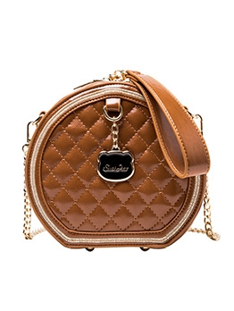 Thread Rhombus Golden Chain Round Shoulder Bags
