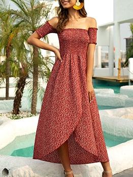 Asymmetric Hem Slit Short Sleeve Midi Dress