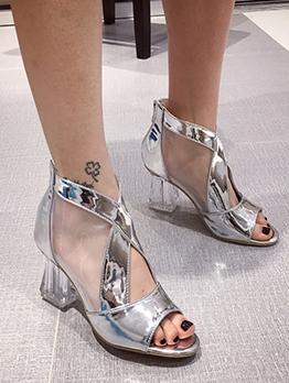 Cutout Clear Heel Peep Toe Booties