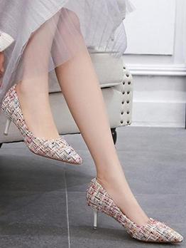 Plaid Pointed Kitten Heel Wedding Heels