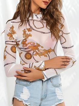 Sexy Printed Gauze See Through Long Sleeve Bodysuit