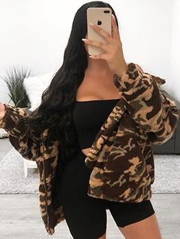 Fleece Camouflage Zipper Up Long Sleeve Winter Coats