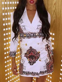 Elegant Button Front Blazer Long Sleeve Dress