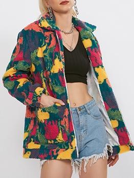 Turndown Neck Fleece Tie Dye Winter Coats
