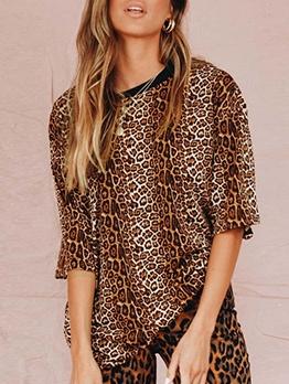 Half Sleeve Leopard Print Crew Neck T Shirt