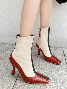 Contrast Color Solid Spool Heel Square Toe Boots