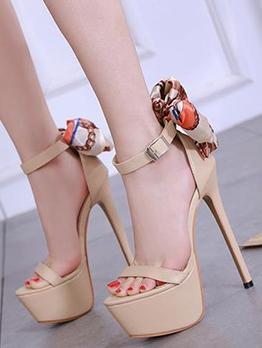 Ribbon Bow Decor Peep Toe Platform Sandals