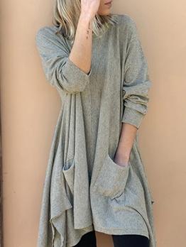 Solid Dual Pockets Asymmetric Hem Casual Dresses