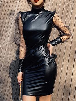 Mock Neck Gauze Dots Sleeve Black Leather Dress