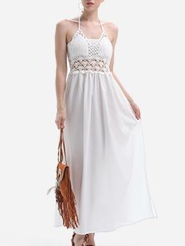 Elegant Open Back Halter Summer Maxi Dresses