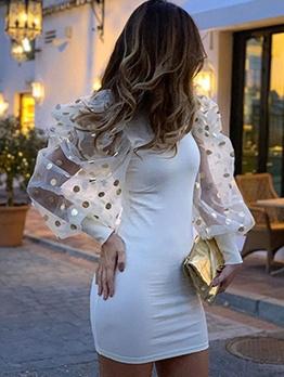 Mock Neck Lantern Sleeve Bodycon Dress