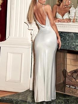 Low-Cut High Split Hem Sleeveless Bodycon Evening Dress