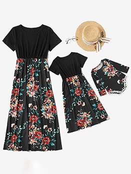 Short Sleeve Floral T-Shirt Dress For Family
